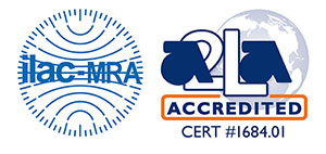 Image with ilac-MRA and A2LA Accredited Cert 1684.01 Logos